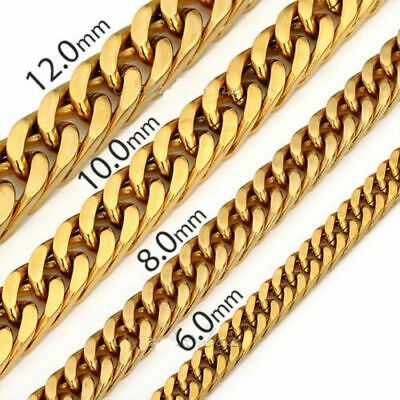 6/8/10/12/14mm Mens Boys 316L Stainless Steel 18K Gold Curb Cuban Chain Necklace