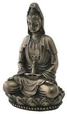 "NEW! 3"" Quan Yin On Lotus Statue Figurine Eastern Tibetan Gift Kwan Guan 1918"