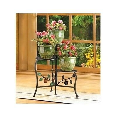 3 Shelf Flower Pot Plant Stand Wrought Iron Indoor Outdoor Garden Patio Decor