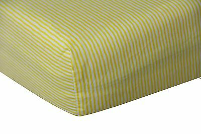 100% Cotton Fitted Crib Sheet, Yellow Stripe