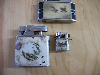 VINTAGE Lot of 3 Cigarette Lighters. Various Brands and Styles See Pictures