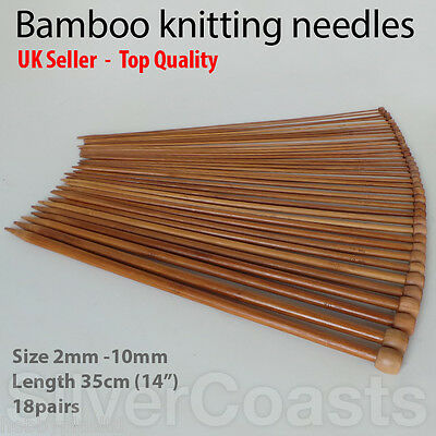 "36 Bamboo Knitting Needles, Single Pointed High Quality Set, 18 pairs 14"" 2-10mm"