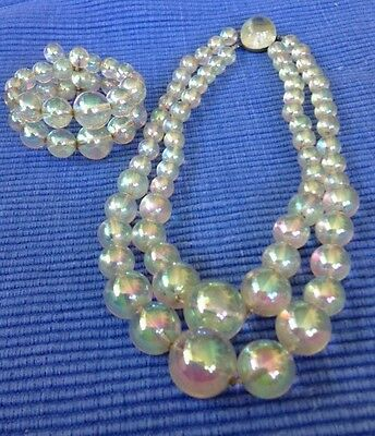 1940s MOONGLOW TRANSLUCENT  Lucite DOUBLE  2X Strand Bubble Necklace Bracelet