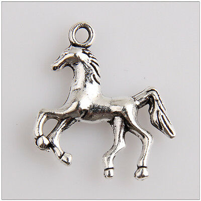 3D   19x19mm Tibetan Antique Silver Rocking Horse Charms Pendants
