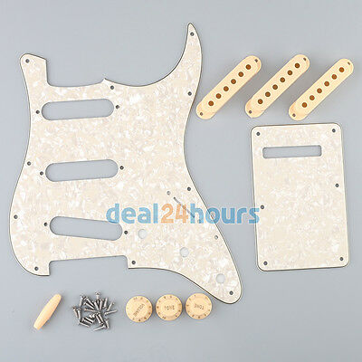 Aged Pearl Strat Pickguard Set with Cream Pickup Covers,Knobs,Switch Tip