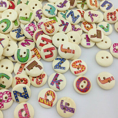 10/50/100/500pcs Alphabet Letter Wood Buttons 15mm Sewing Craft Mix Lots WB01