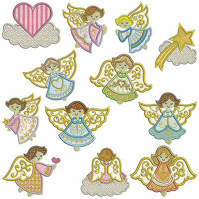 * ANGELS 1 * Machine Applique Embroidery Patterns * 12 Designs, 2 sizes