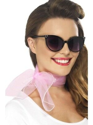 50s Neck Scarf Pink Adult Womens Smiffys Fancy Dress Costume Accessory