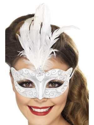 HARLEQUIN MASQUERADE EYEMASK TALL FEATHER Womens Ladies Fancy Dress Accessory