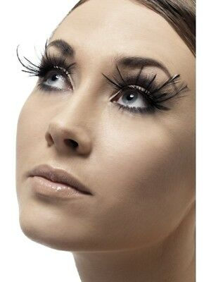 Eyelashes Adult Womens Smiffys Fancy Dress Costume Accessory - Feather Plume Blk