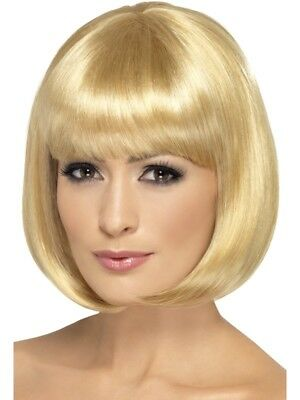 Dark Blond Partyrama Wig, Short Bob Adult Womens Smiffys Fancy Dress Costume