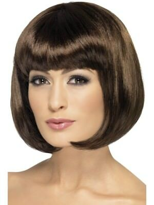 Dark Brown Partyrama Wig, Short Bob Adult Womens Smiffys Fancy Dress Costume