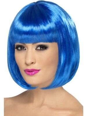 Blue Partyrama Wig, Short Bob Adult Womens Smiffys Fancy Dress Costume
