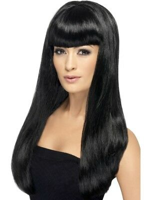 Black Babelicious Wig Long Straight Adult Womens Smiffys Fancy Dress Costume