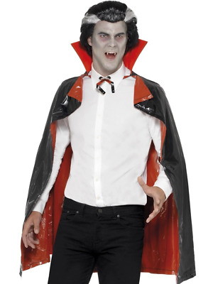 PVC Reversible Vampire Cape, Black and Red Smiffys Fancy Dress Costume Accessory