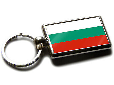 Bulgaria Flag National Colours Quality Chrome Keyring Picture Both Sides