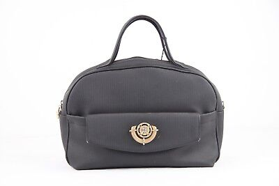 40769dbcb9c AUTHENTIC RODO VINTAGE Black Vinyl Canvas TOTE HANDBAG Carry On Bag ...