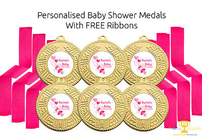 6 x Personalised Baby Shower Party Medals Favors Favours FREE DELIVERY