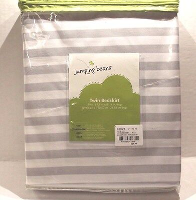Jumping Beans Monster Mania Gray & White Striped Twin Size Bedskirt Bed Skirt