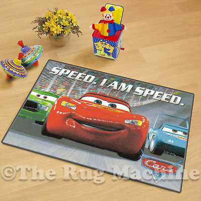 DISNEY CARS LIGHTNING MCQUEEN KIDS FUN PLAY RUG 50x75cm NON-SLIP & WASHABLE *NEW