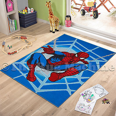 SPIDERMAN BLUE KIDS FUN PLAY RUG 100x150cm NON-SLIP & WASHABLE **NEW**