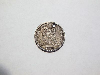 1876-P XF/AU Silver Seated Dime Nice High Grade Low Priced Coin for a collection