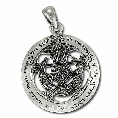 Crescent Moon Pentacle Wicca Cutout Sterling Silver Pendant Dryad Design #TPD206