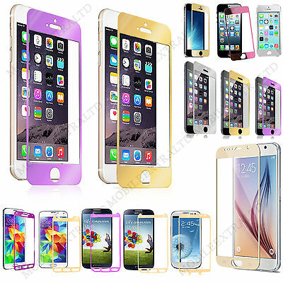 Colored Tempered Glass Shock Proof Screen Protector Film Guard For Apple Samsung