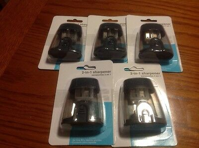 Lot of 5 - 2 in 1 pencil sharpeners