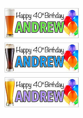 2 x PERSONALISED BIRTHDAY BEER BANNERS -ANY NAME 1st 18th 21st 30th 40th