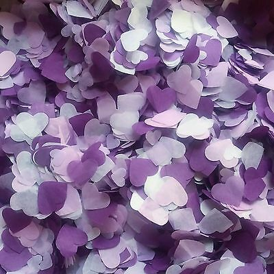 Biodegradable Purple, Levander White HEART Wedding confetti for 5 handfuls