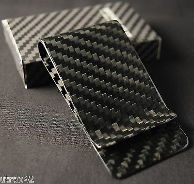 Real Carbon Fiber Money Clip Gloss Card Bills Cash Holder Wallet Aero Space Age