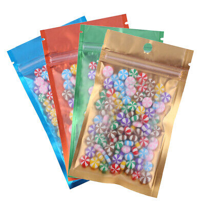 Variety of Sizes/Colors for Clear/Color/Silver ZipLock Bag w HangHole (100/Pack)