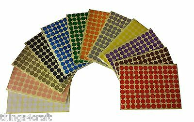 16mm Coloured Dot Stickers Round Sticky Adhesive Spot Circles Paper Label