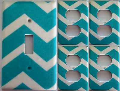 Teal Chevron Light Switch Plate Cover Girls Bedroom Bathroom Wall Decor Set Of 5