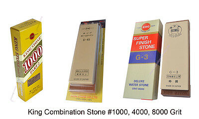 JAPANESE King Combination Sharpening Stone #1000, 4000, 8000 Grit Whetstone