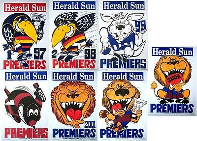 1997 2003 7X Grand Final Premiers Premiership Weg Poster Essendon Adelaide Lions