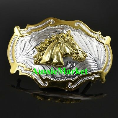 1 x mens ladies girls belt buckle jeans horse cowboy saddle gold silver western