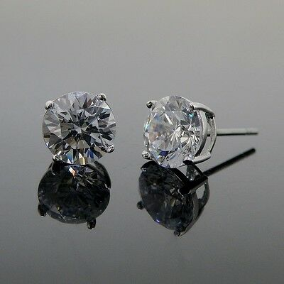 Mens stud earrings 925 sterling silver cubic zirconia 8mm round best shine cz
