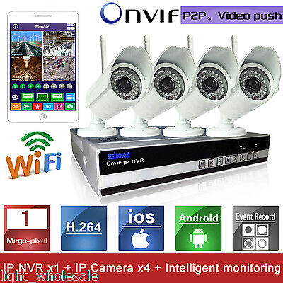 4CH 720P Network Video Recorder Wireless IP IR Security HD Camera NVR System