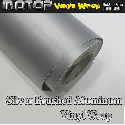 Silver Brushed Aluminum Vinyl Wrap Film Car Sticker Decal with Air Bubble Free