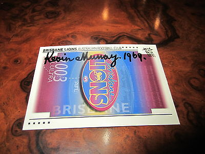 Fitzroy Lions - Kevin Murray Hand Signed 2003 Select Logo Card 1969 Brownlow