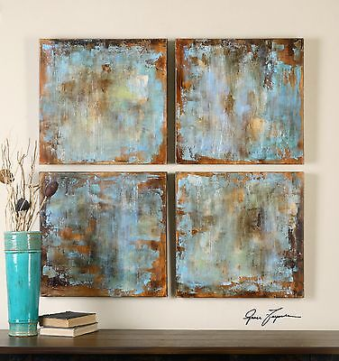 Set Of Four Rich Hand Painted Canvas Abstract Panels Painting Wall Art Modern