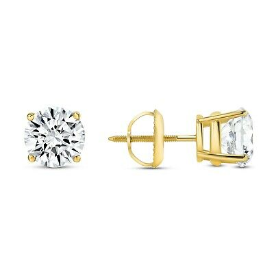 3 Ct Round Earrings Studs Solid 14K Yellow Gold Brilliant Cut Basket Screw Back