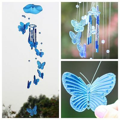 Blue Crystal Butterfly Wind Chime Bell Ornament Garden Living Hanging Decor