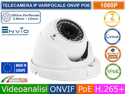 TELECAMERA DOME IP 2 MPX MEGAPIXEL VARIFOCALE 2,8-12mm  FULL HD ONVIF CLOUD