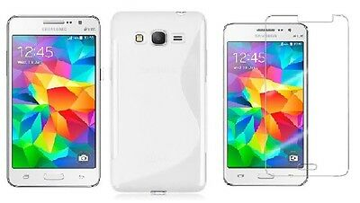 Clear S-Line Tpu Case+ Screen Protector For Cricket Samsung Galaxy Grand Prime