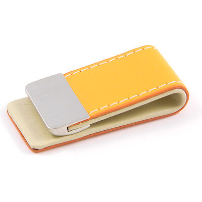 Orange Synthetic PU Leather & Metal Money Clip - Great Gift (MC8O)