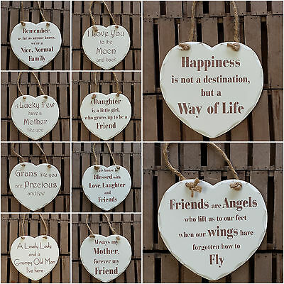 """7"""" Shabby Chic Wooden Heart Wall Plaque, Sign - Friends, Family, Love..."""