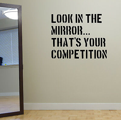 Look in the Mirror Gym Wall Decal Quote Workout Exercise Fitness Weightloss Diet
